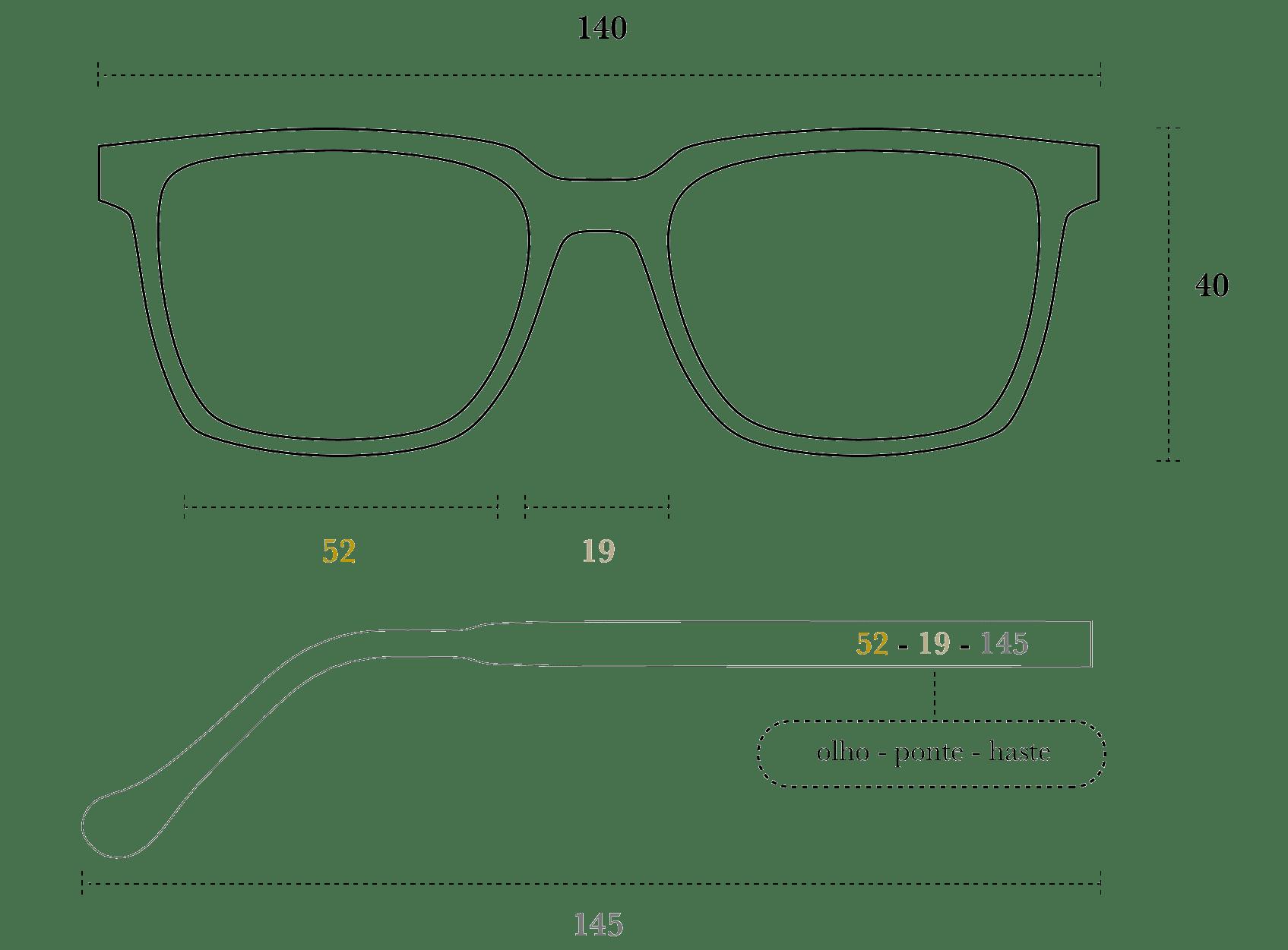 Desenho técnico do óculos Babba