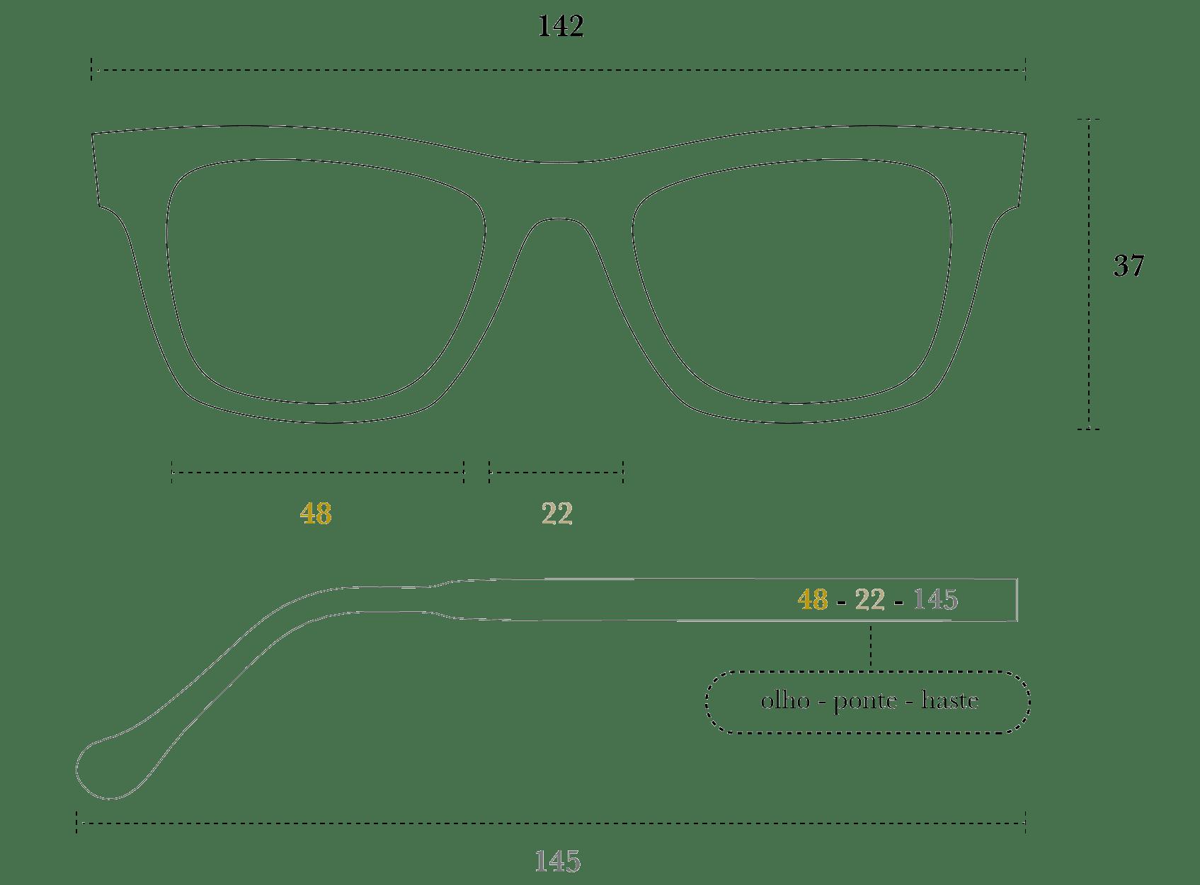 Desenho técnico do óculos Cisco