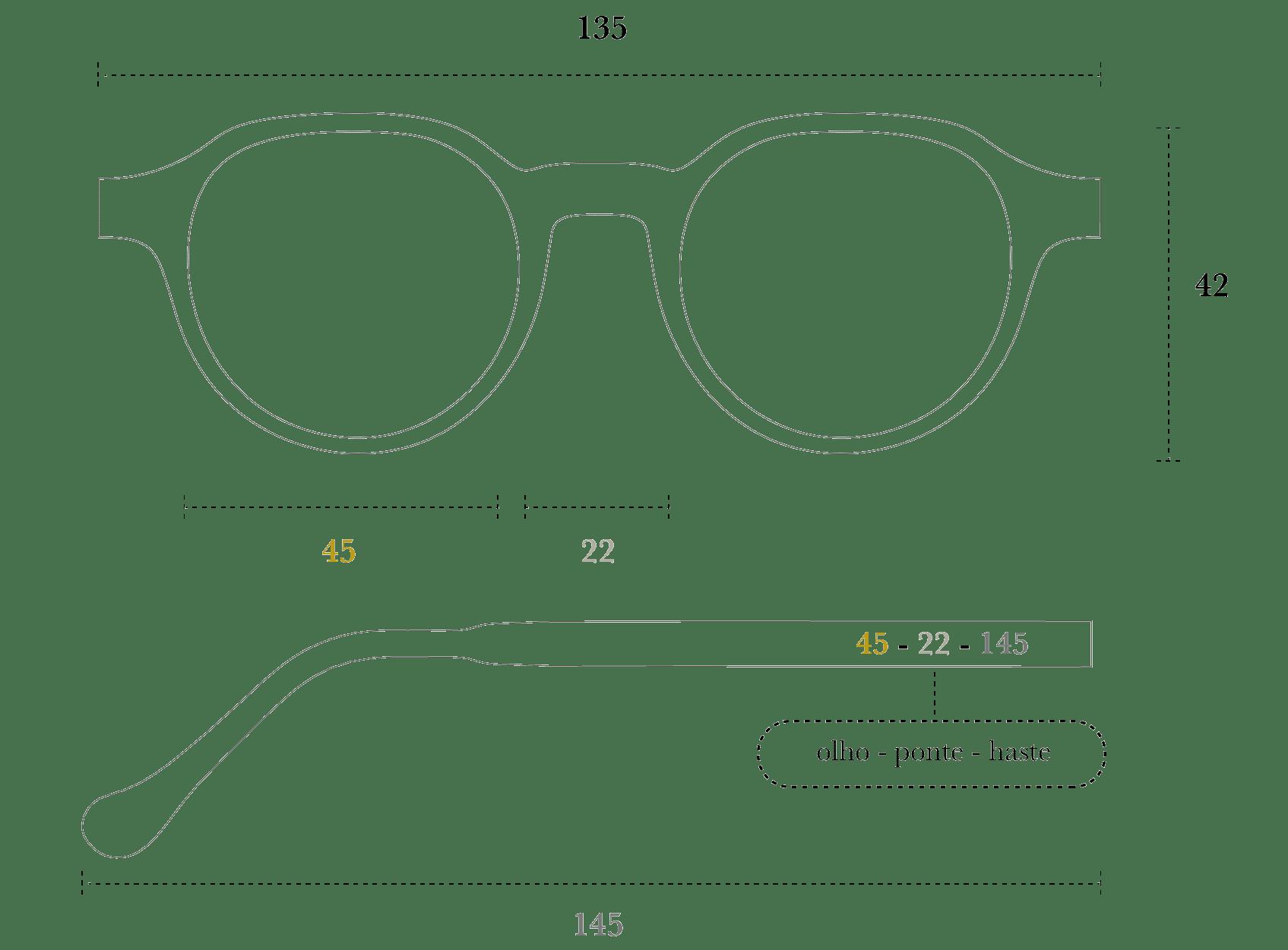 Desenho técnico do óculos Fitti
