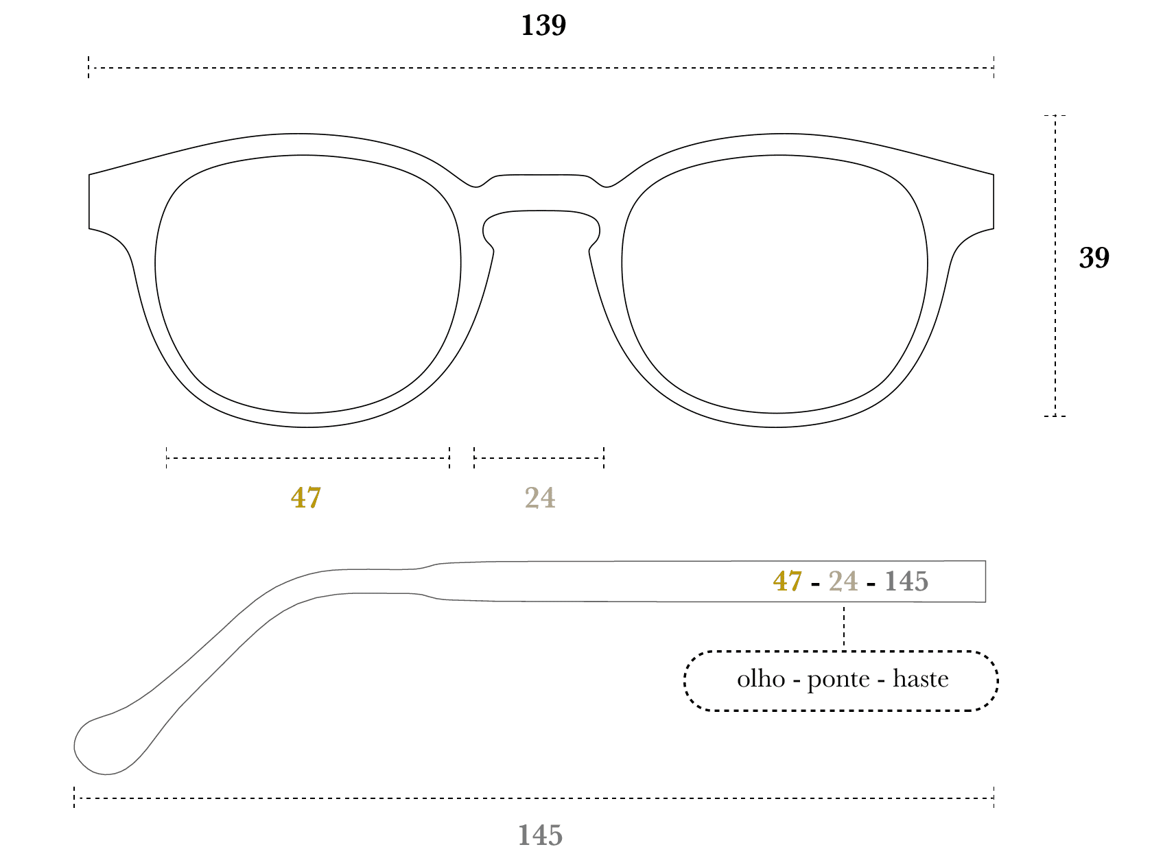 Desenho técnico do óculos Mac