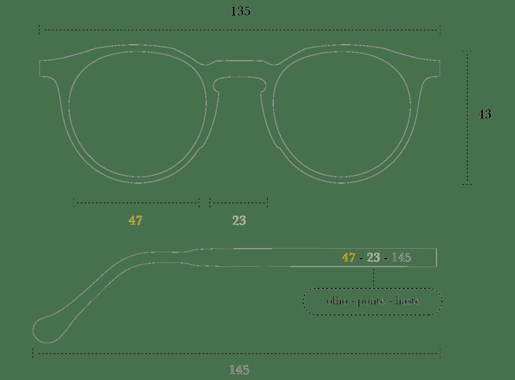 Desenho técnico do óculos Mira
