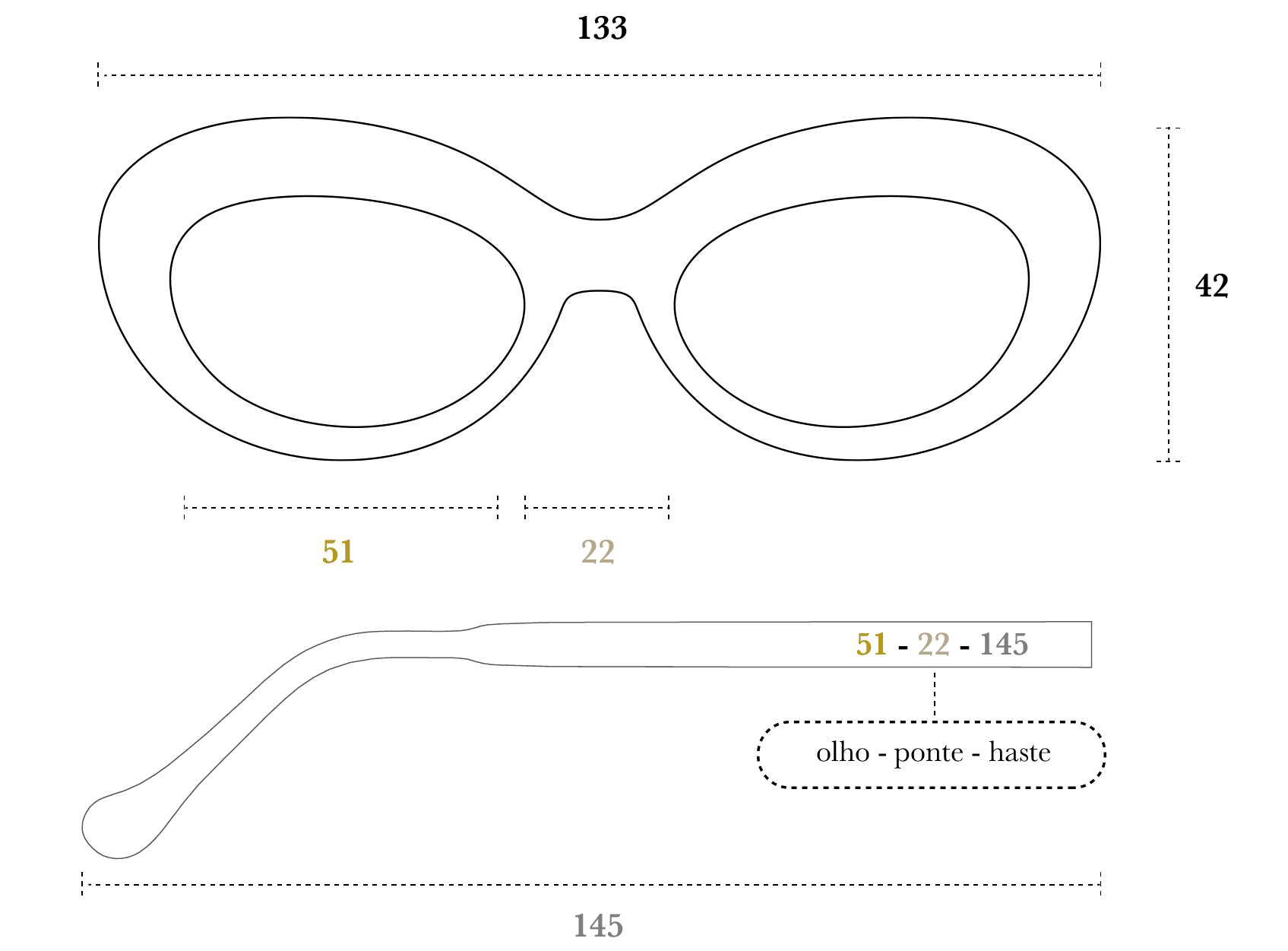 Desenho técnico do óculos Nara