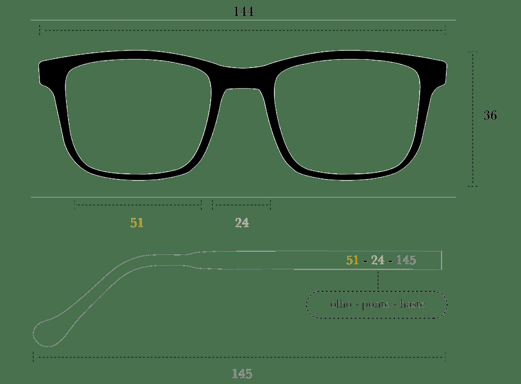 Desenho técnico do óculos Ni