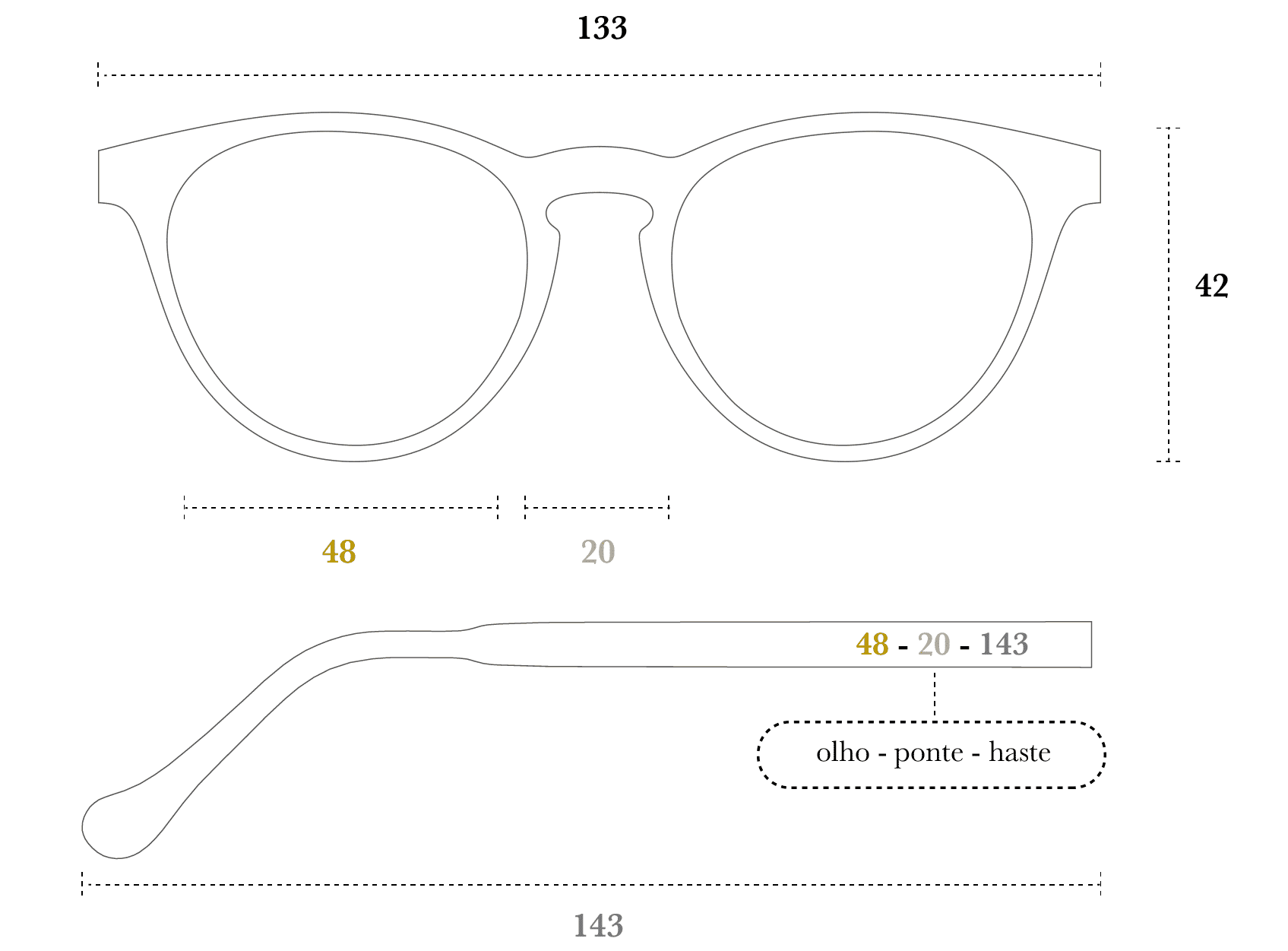 Desenho técnico do óculos Nicco