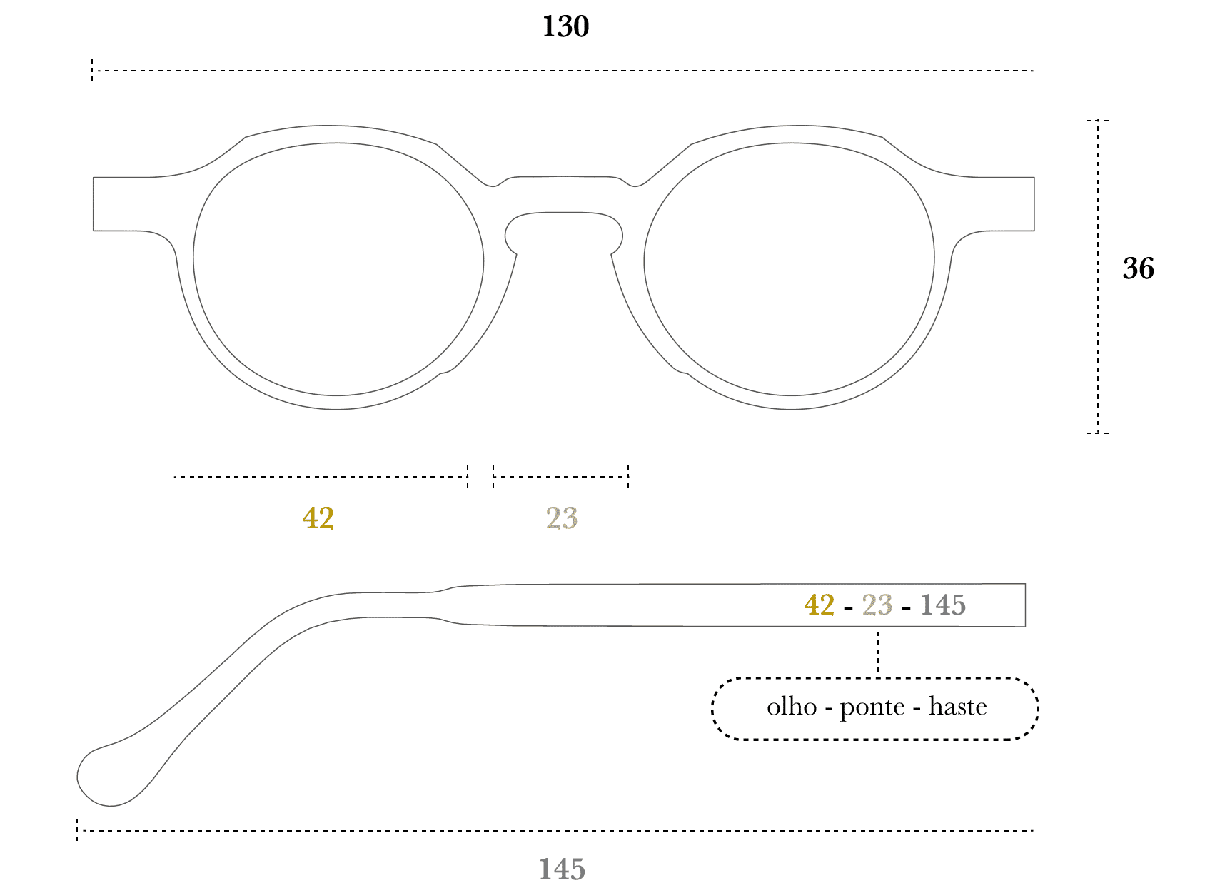 Desenho técnico do óculos Pape