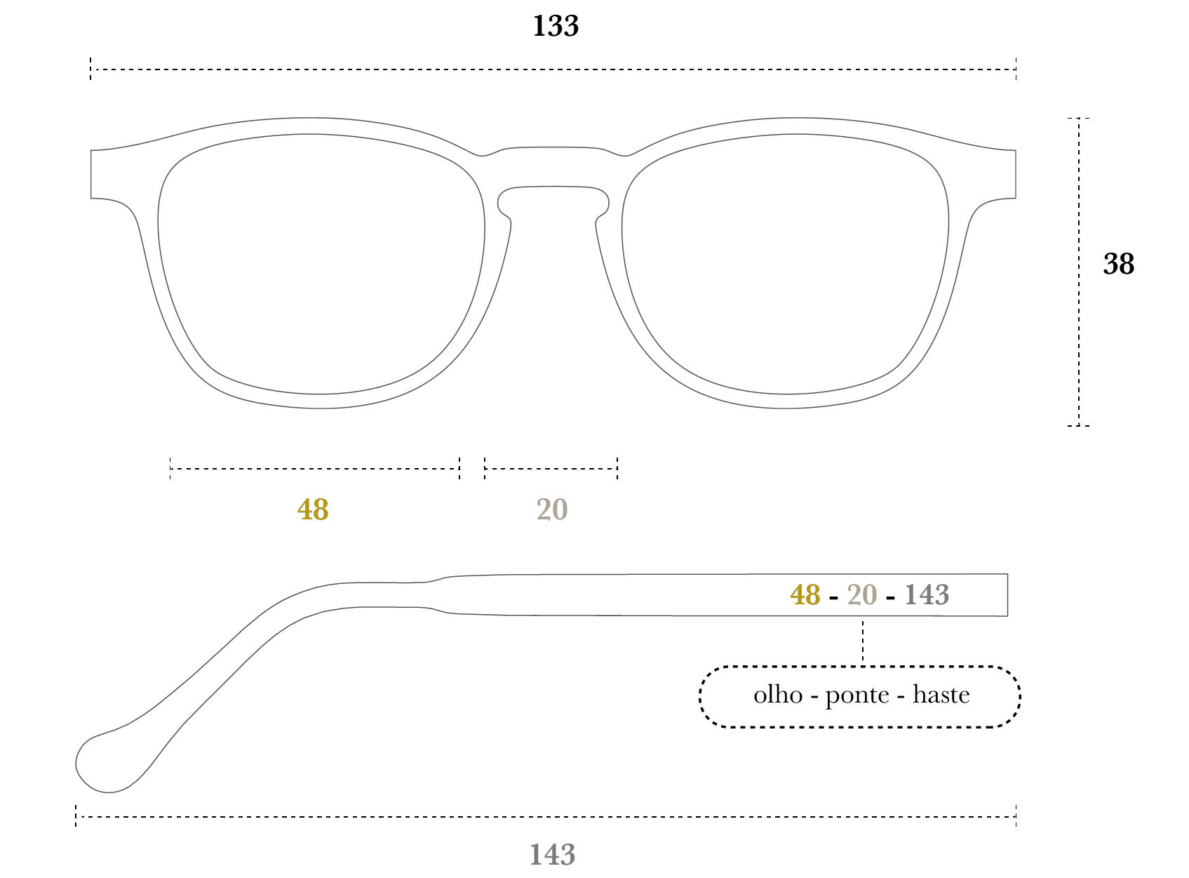 Desenho técnico do óculos Quin