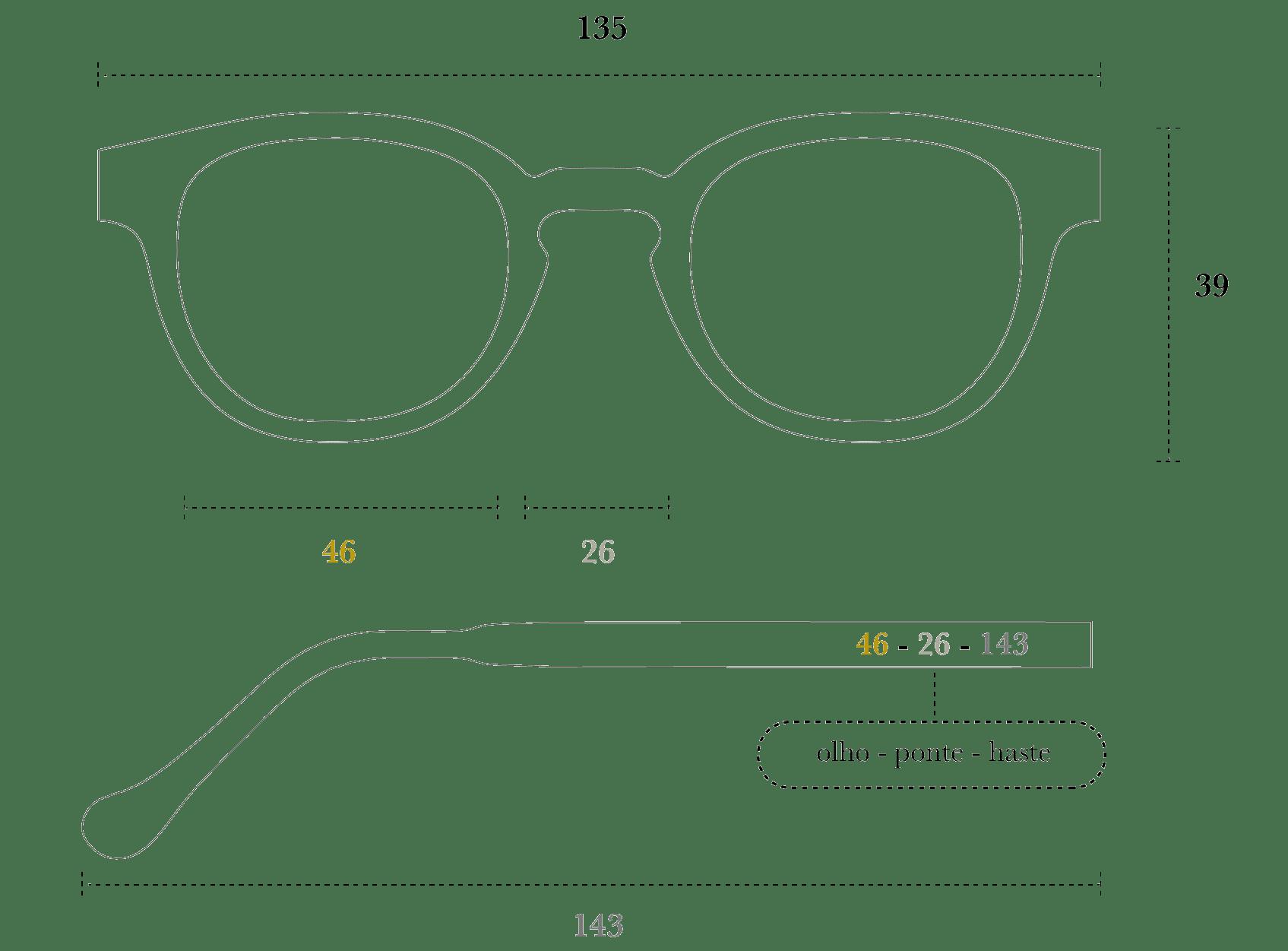Desenho técnico do óculos Rudi