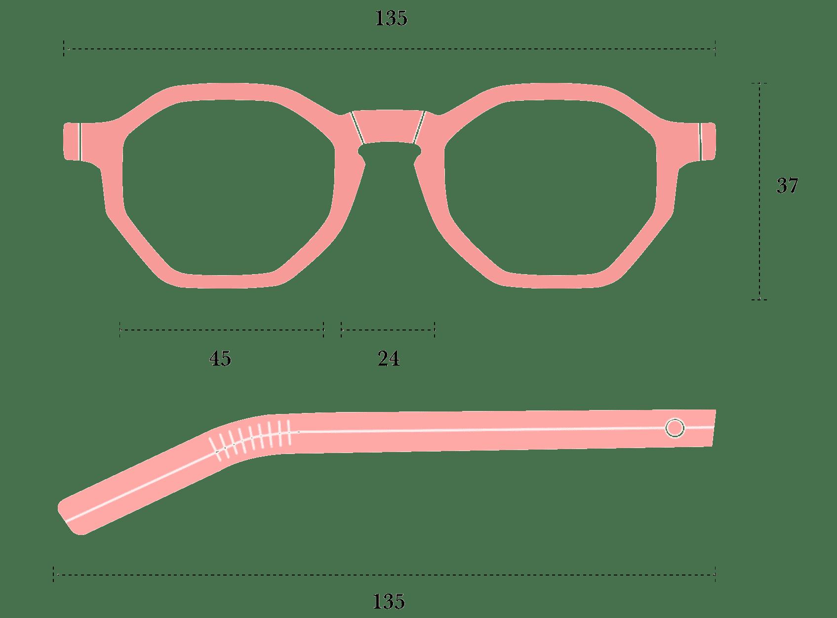 Desenho técnico do óculos Canudos