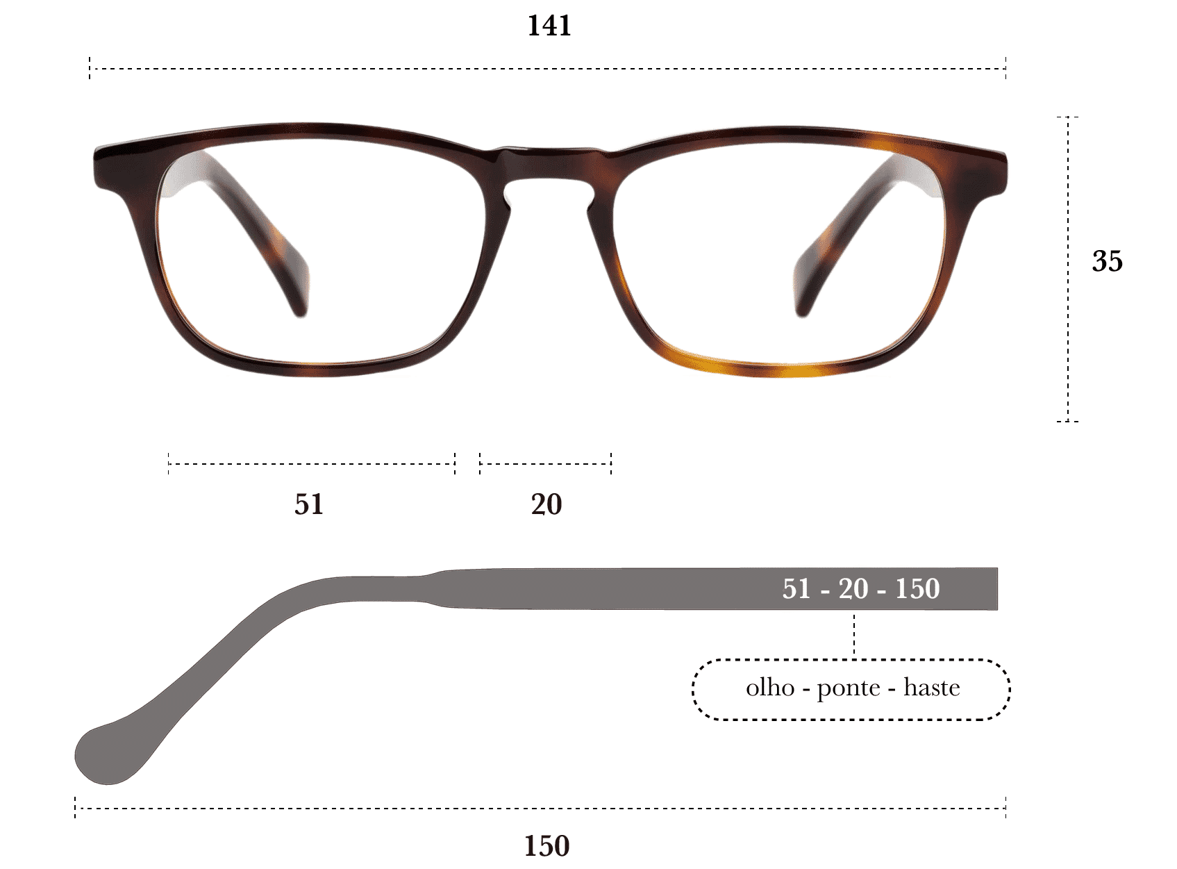 Desenho técnico do óculos Berg