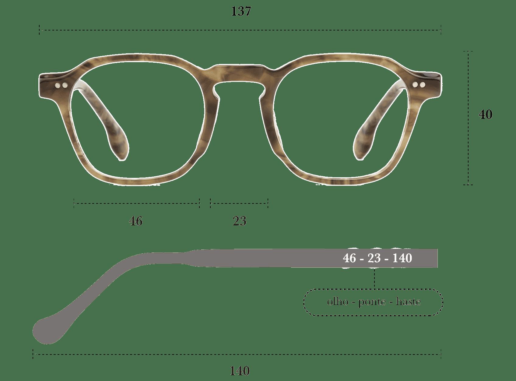 Desenho técnico do óculos Bo G