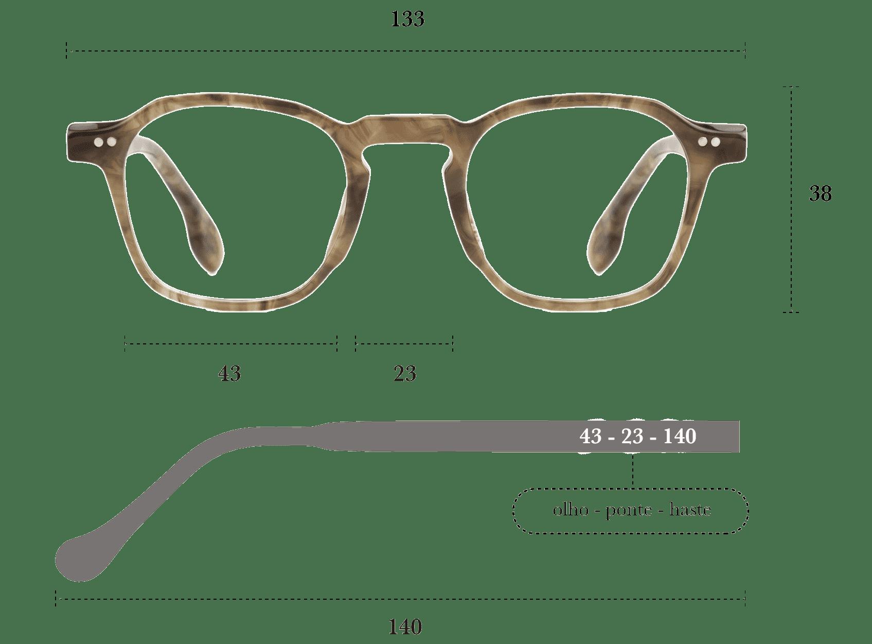 Desenho técnico do óculos Bo