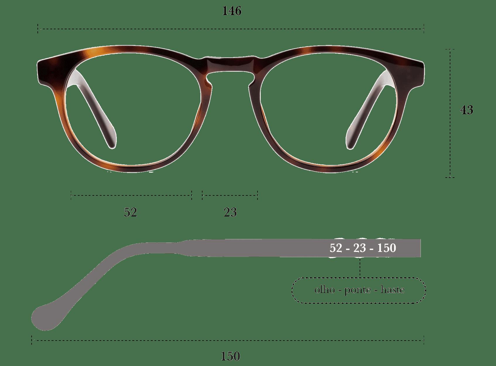 Desenho técnico do óculos Boga