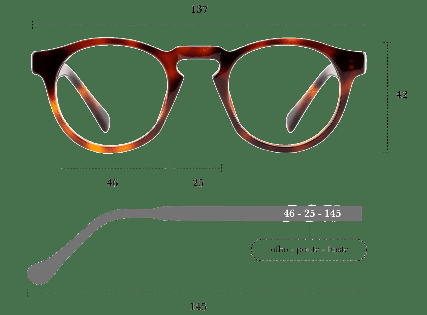Desenho técnico do óculos Bossa