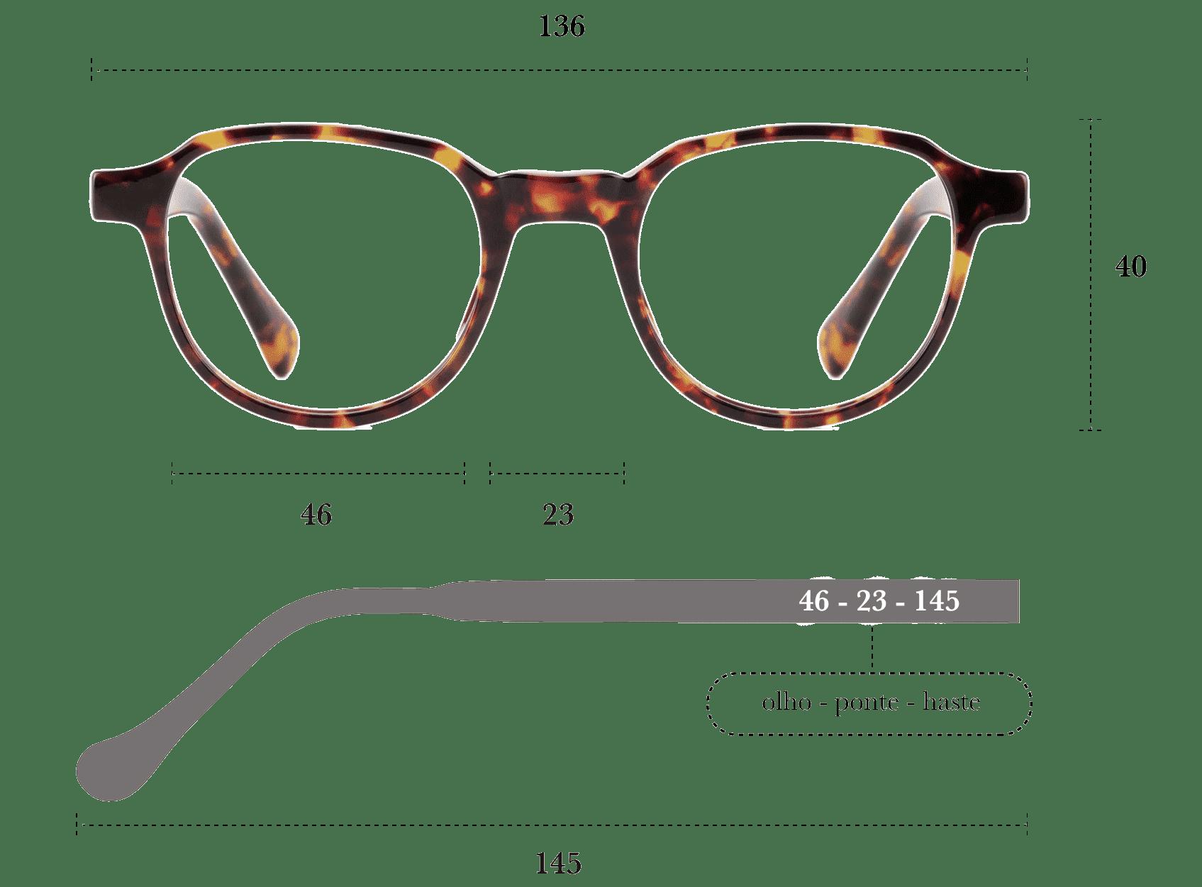 Desenho técnico do óculos Fatti