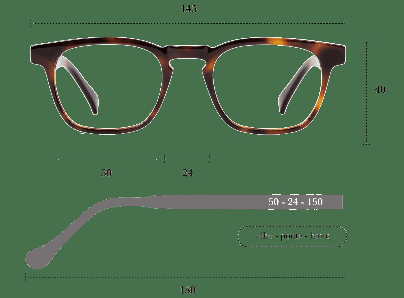 Desenho técnico do óculos Jim