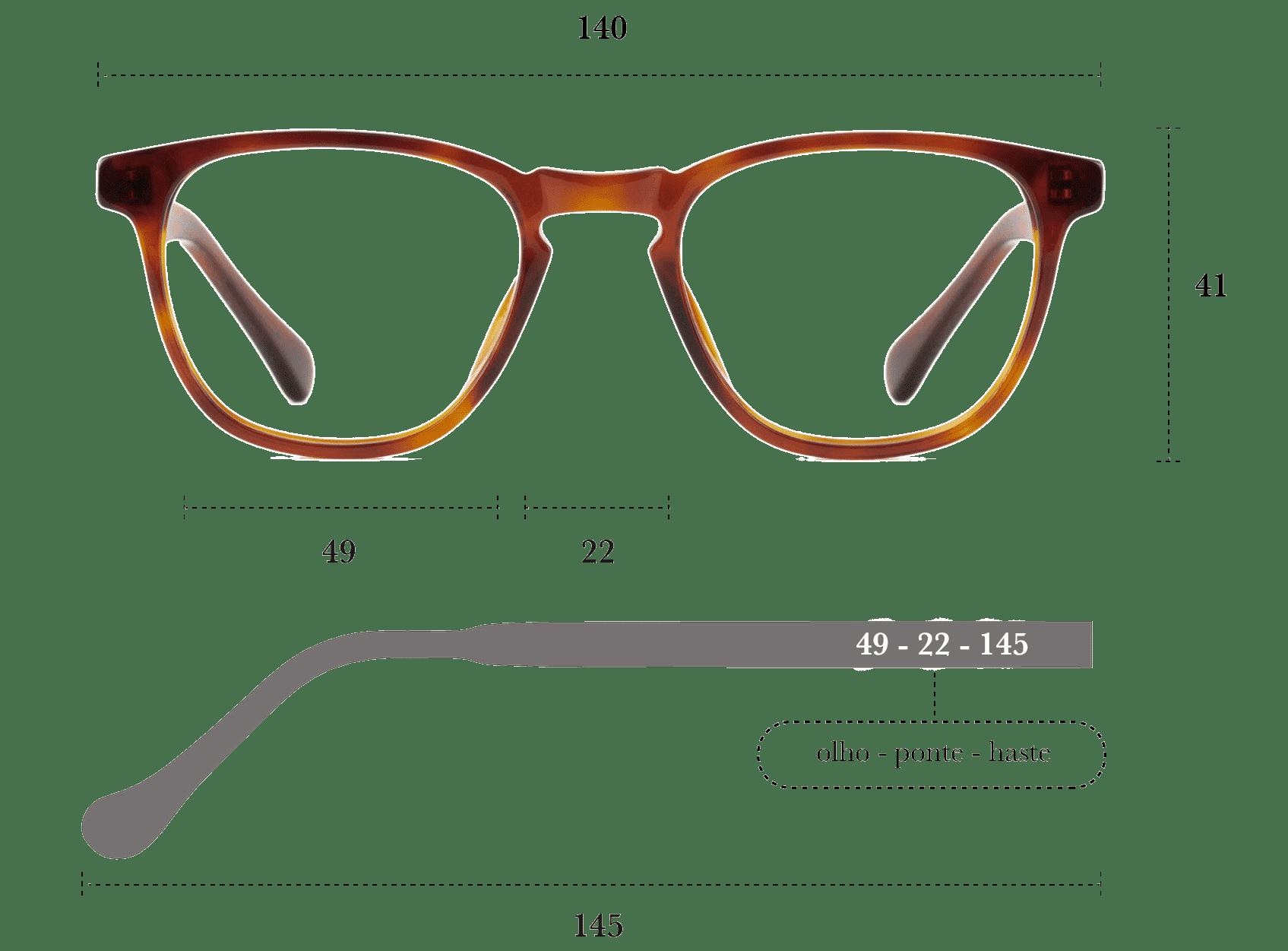 Desenho técnico do óculos Luc