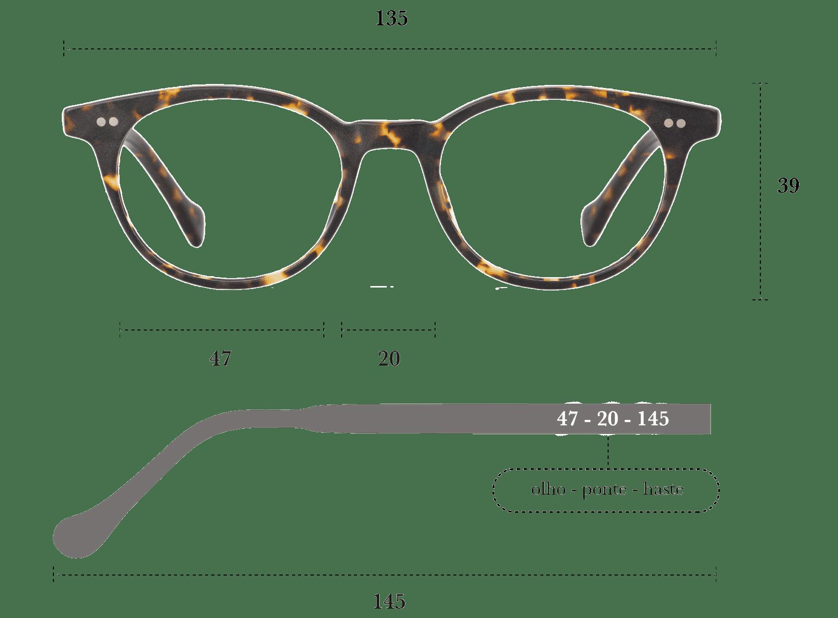Desenho técnico do óculos Mani