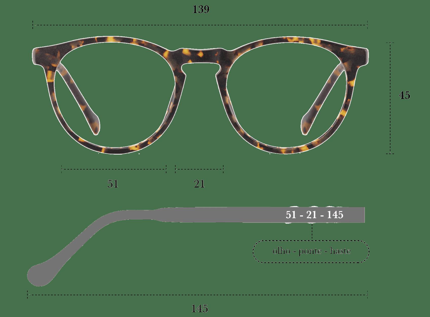 Desenho técnico do óculos Micca