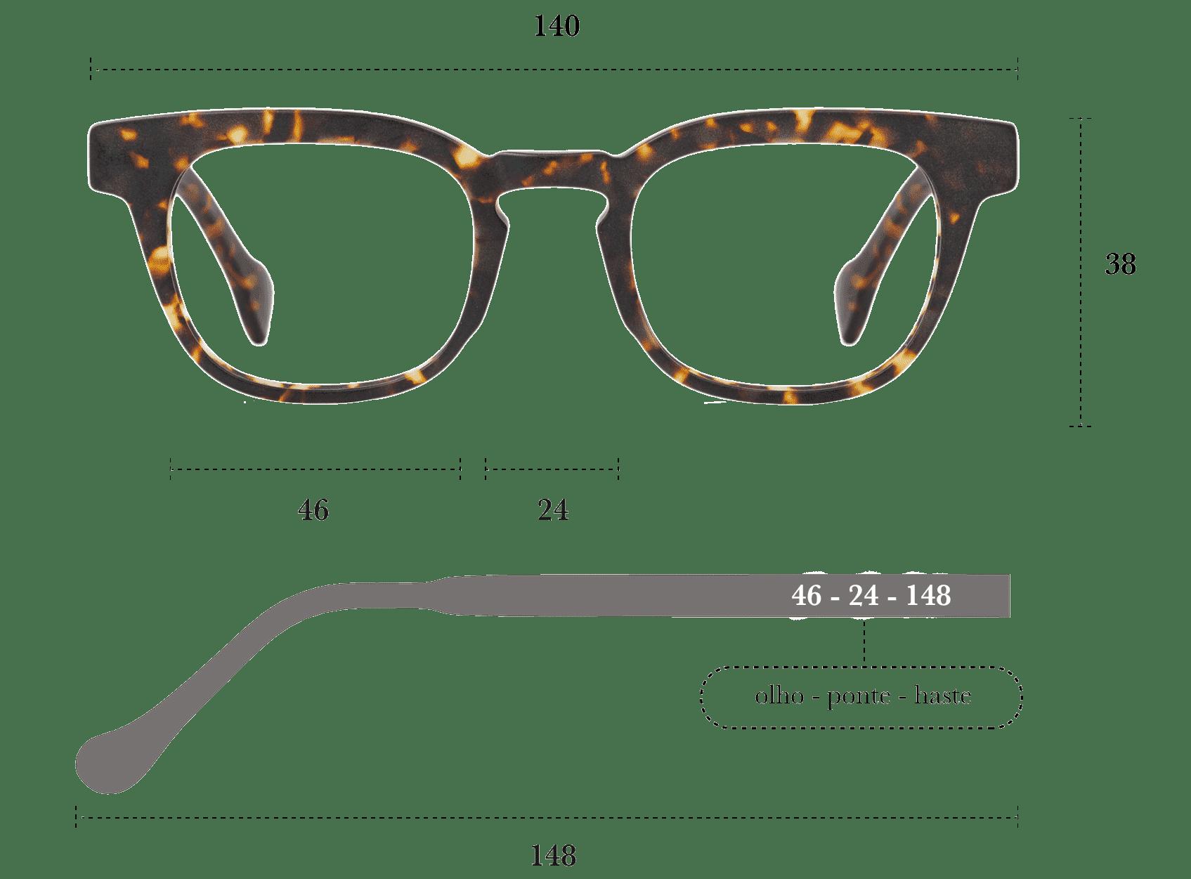 Desenho técnico do óculos Nuno