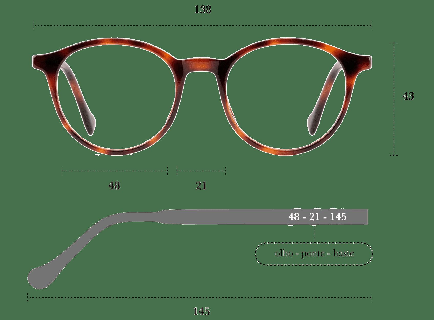 Desenho técnico do óculos Olly