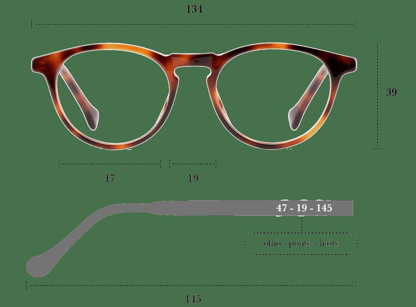 Desenho técnico do óculos Oni