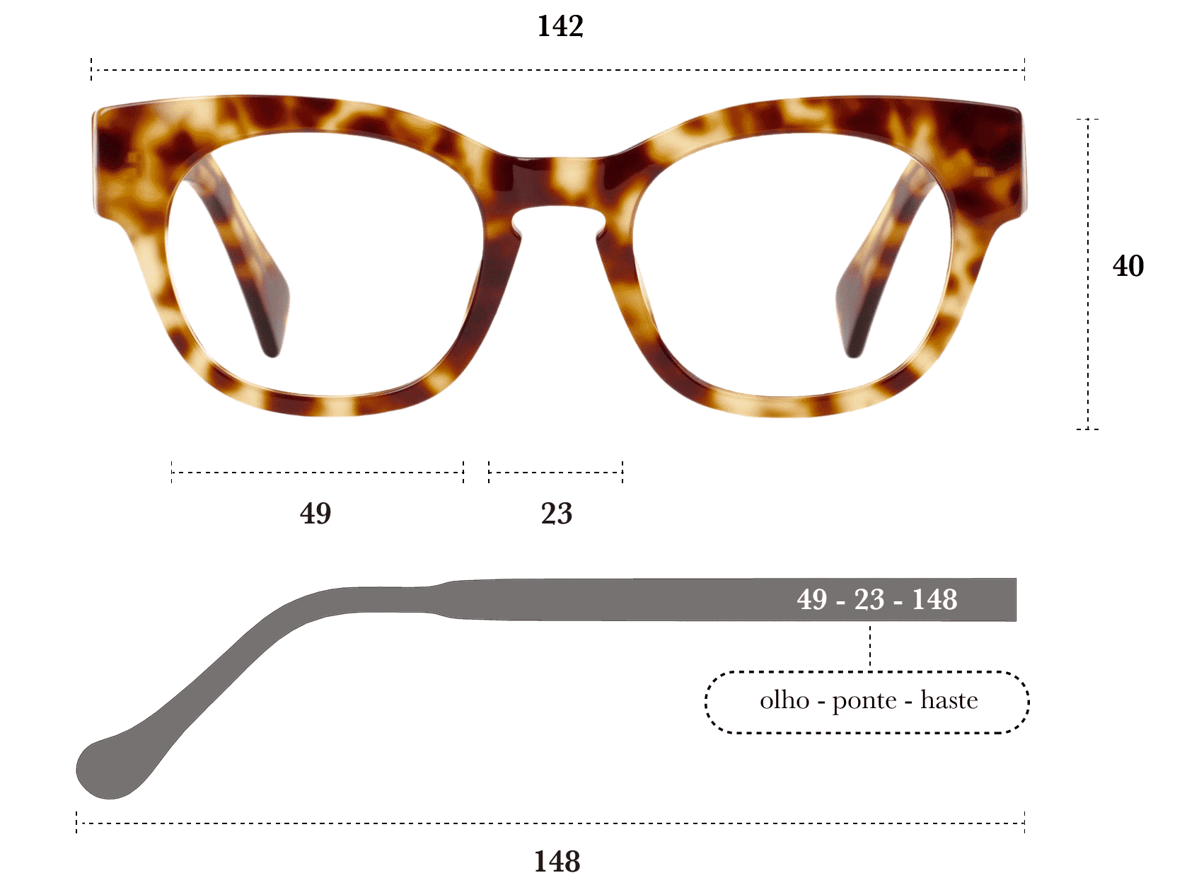 Desenho técnico do óculos Pina