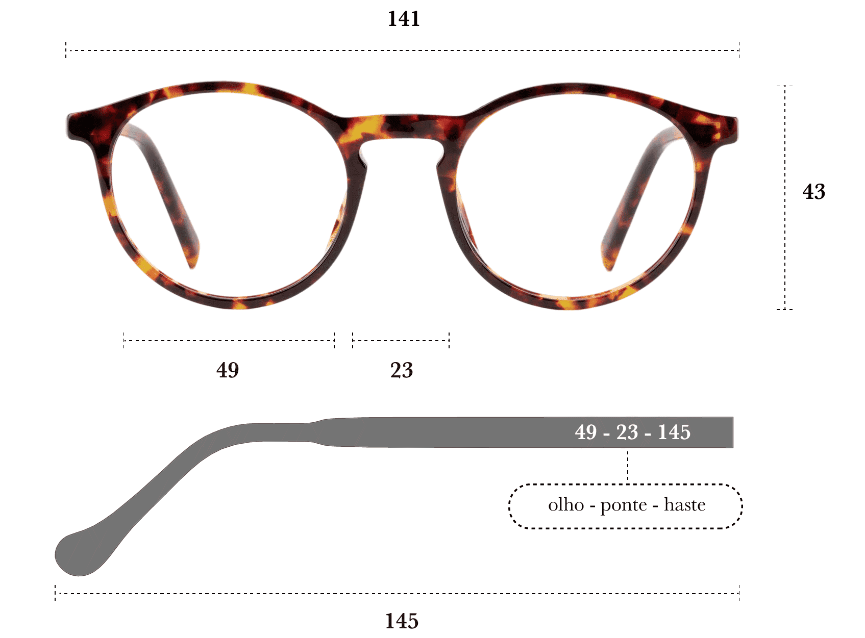 Desenho técnico do óculos Pitta
