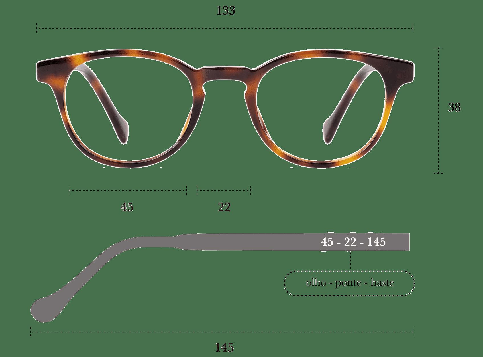 Desenho técnico do óculos Roma