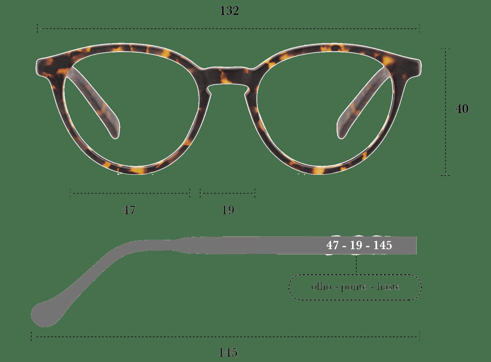Desenho técnico do óculos Yumi