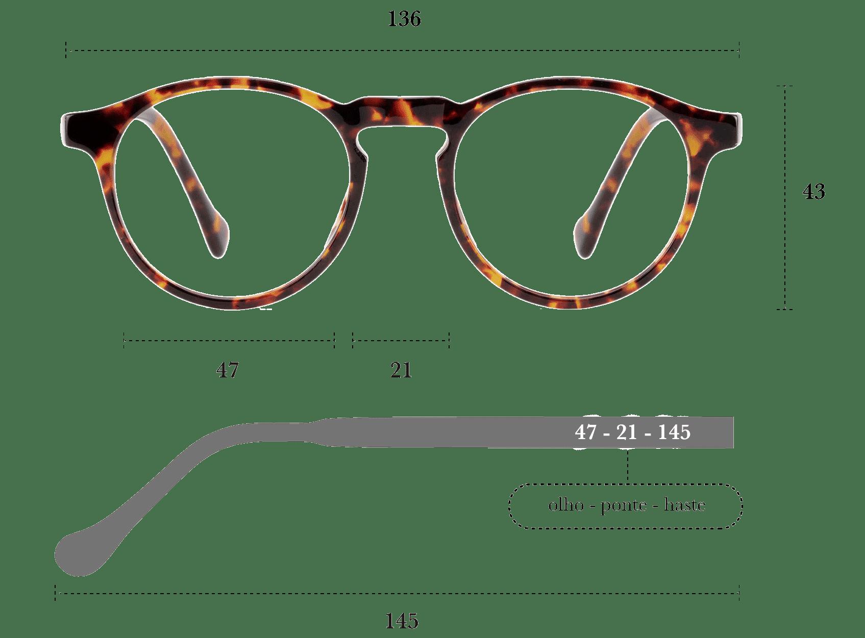 Desenho técnico do óculos Zeq