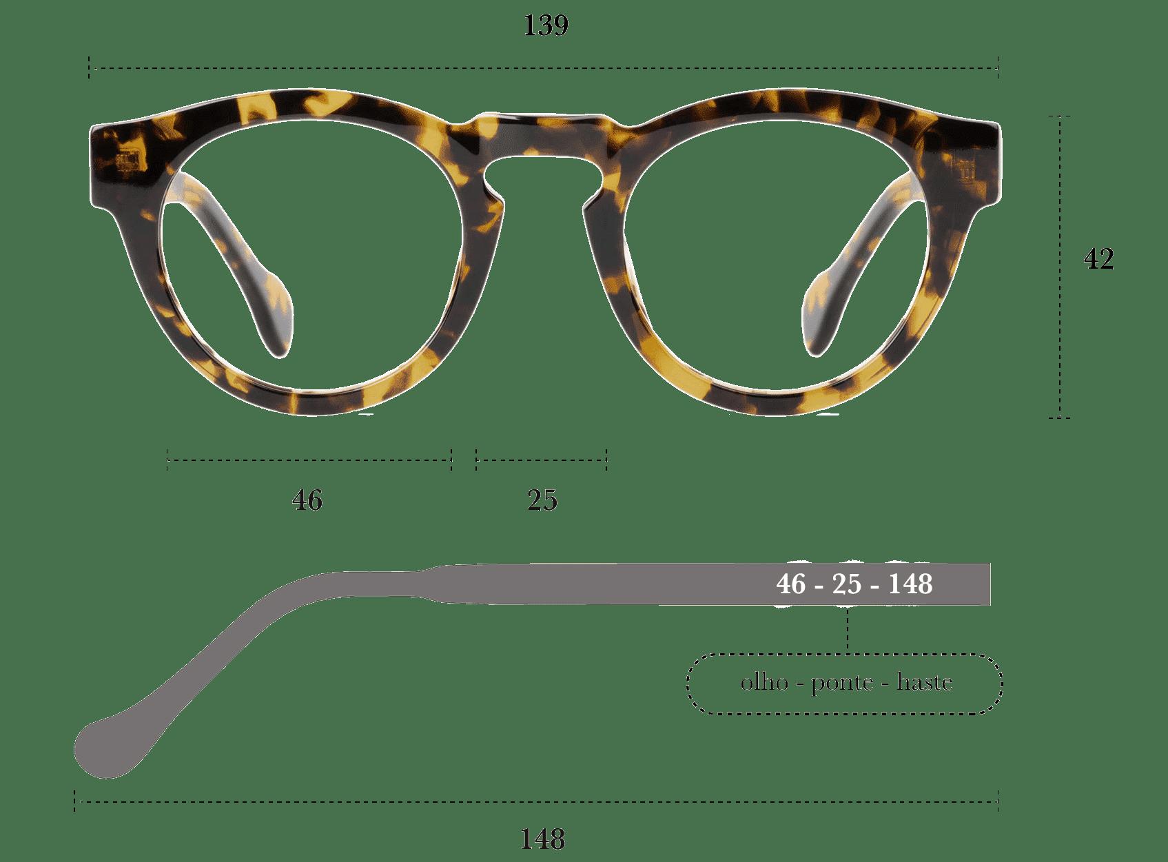 Desenho técnico do óculos Zila